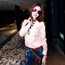 Vogue of new fund of 2015 European autumn outfit T-shirt women's long sleeve nail bead the Korean goods version of A blouse to the spring and autumn period and the hot style