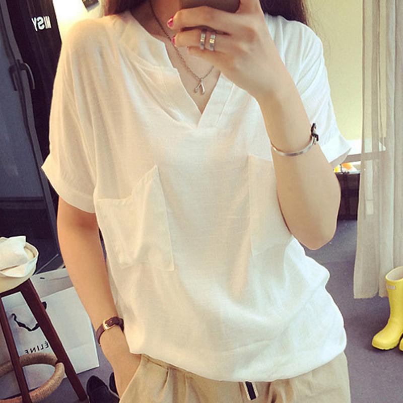 亞麻純色棉麻布簡約t恤衫