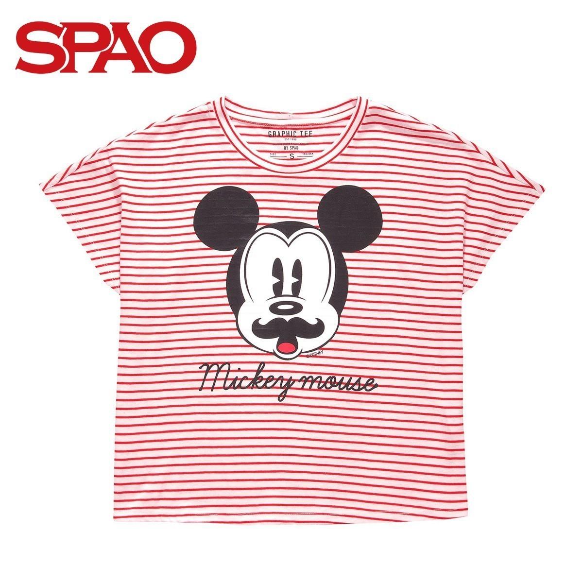 SPAO衣戀 春夏米奇條紋印花女裝短袖T恤SPRP42TD99