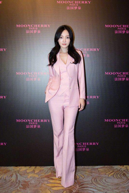 高端定制李小璐同款粉色修身休闲工装上班西装套装外套女