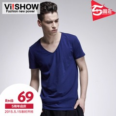 Viishow2015 summer dress new style t-solid color v neck t shirt short sleeve men's Joker in Europe and basic short sleeve shirt