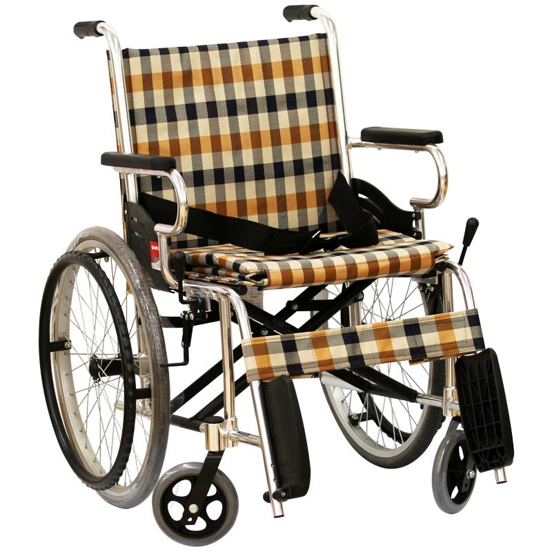 包邮 鱼跃 手动轮椅 靠背可折可调 轻便 高强度合金车架带手刹zq