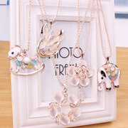 Cool na long dress of Korean rhinestones jewelry pendant women sweater chain necklace Joker character Opal 4132