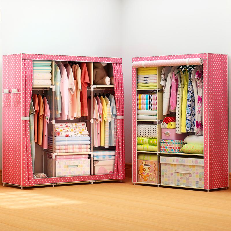 衣櫃簡易布藝雙人簡約 經濟型衣櫥折疊單人組裝宿舍收納布衣櫃