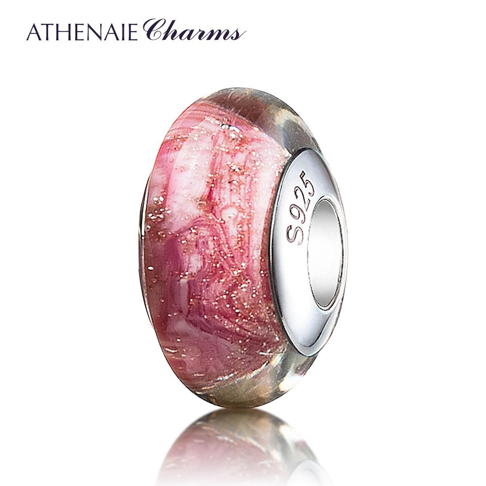ATHENAIE意大利925銀芯金沙炫彩琉璃珠子轉運珠搭基礎手鏈送女友