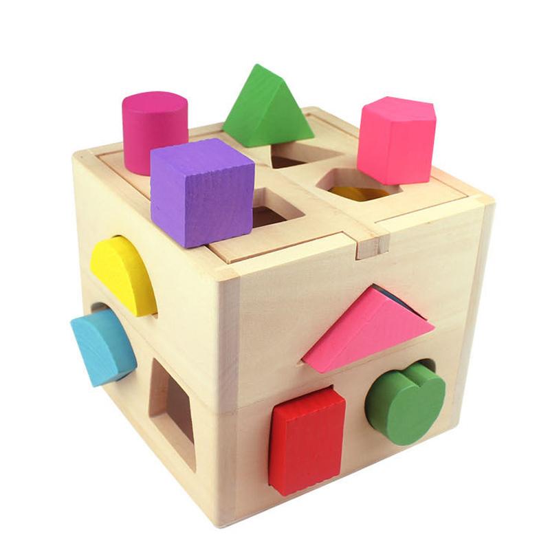 十三孔智力盒 智慧盒 几何形状盒 13孔智力盒 宝宝益智玩具