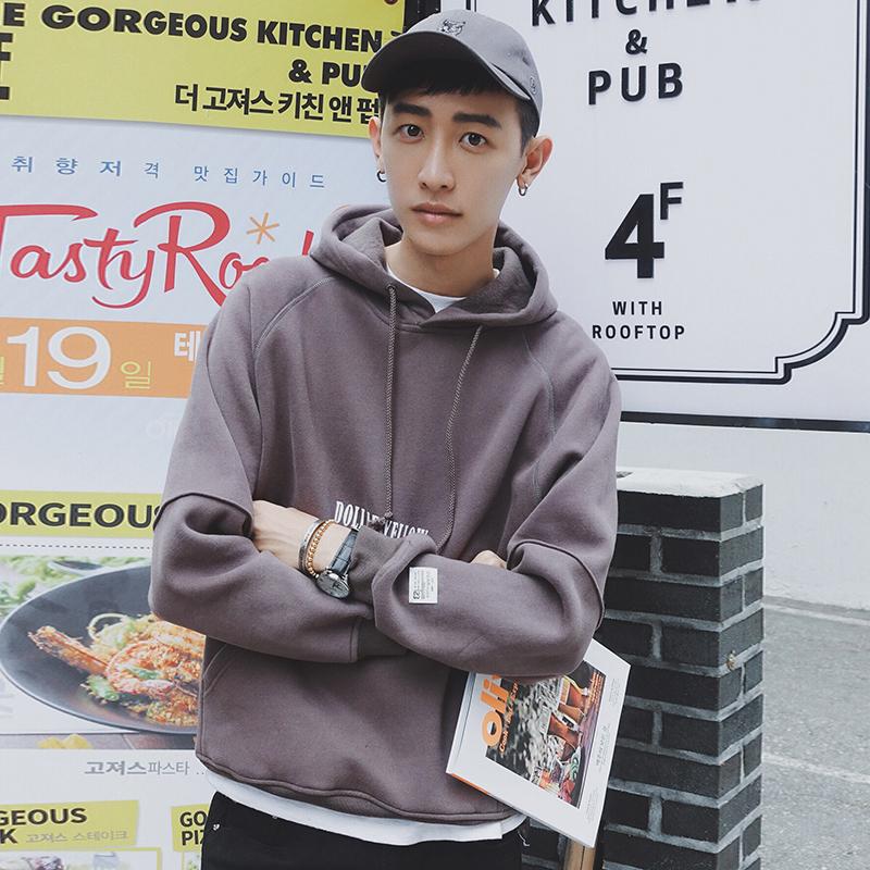 2016 衛衣男連帽加絨加厚 純色帶帽學生衛衣 青少年潮寬鬆