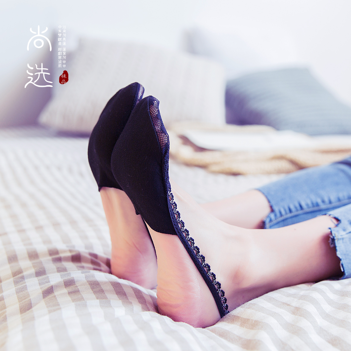隐形女士浅口半掌袜子纯棉夏季薄款船袜高跟鞋半截防滑蕾丝吊带袜