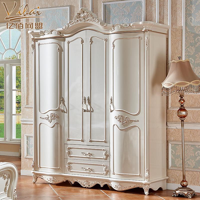 正品保证欧式衣柜四门2米衣柜新款奢华实木珠光烤漆主卧室衣柜描金大衣橱