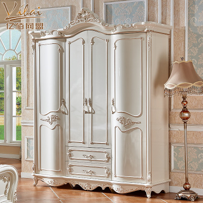 欧式衣柜四门2米衣柜卧室奢华实木珠光烤漆主卧室衣柜描金大衣橱