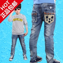 The new 2015 the spring and autumn period and the model of five boys 6 fashion jeans trousers 8 leisure trousers of 9 10 autumn boy 15 years old
