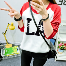Han edition of new fund of 2015 autumn large size ladies' printed sets loose long-sleeved T-shirt candy color letters fleece single women