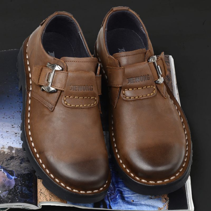 Jiewang spring new leisure men's shoes head layer cowhide low top hand buckle big head shoes men's leather round head tooling