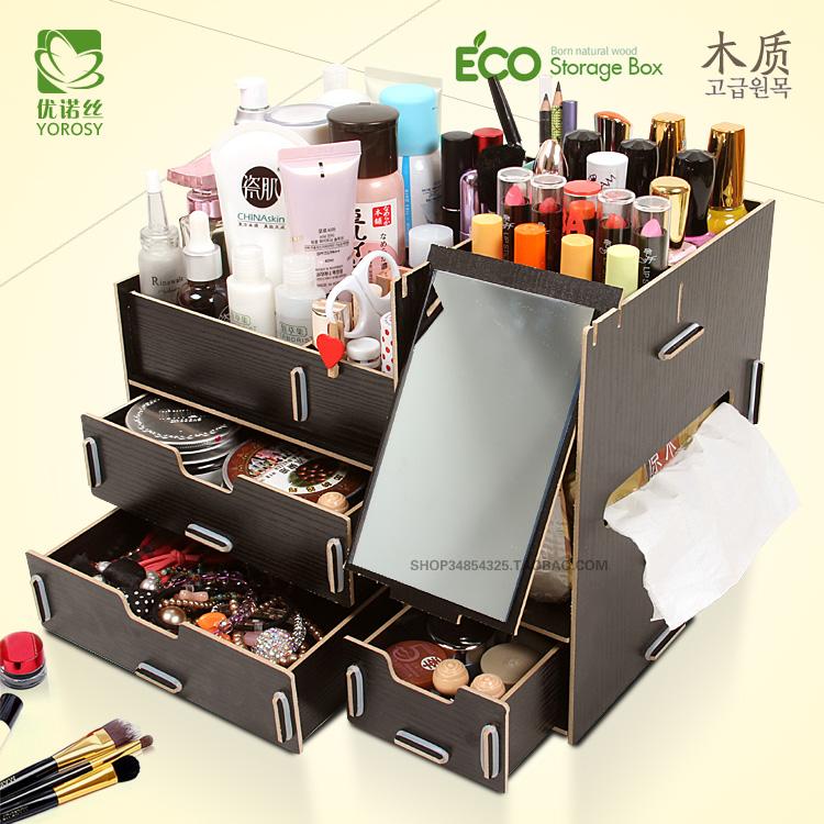 Обои шкаф древесины Кинг-сайз с зеркалом и ящик деревянные коробки косметики кожи ухода и хранения бен хранения