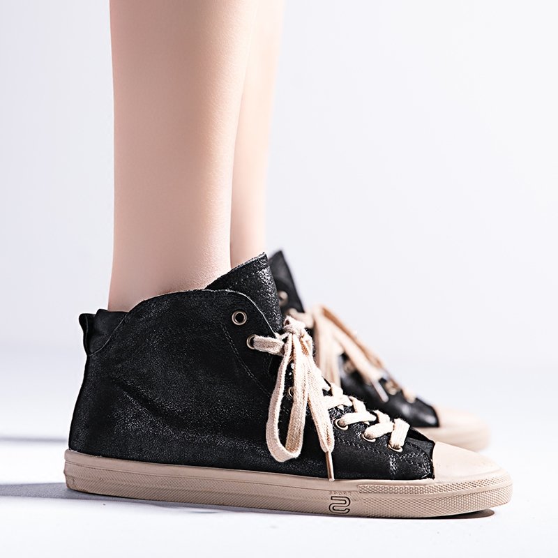 英伦真皮马丁短靴女系带平底百搭学生夏季高帮鞋女板鞋复古潮踝靴