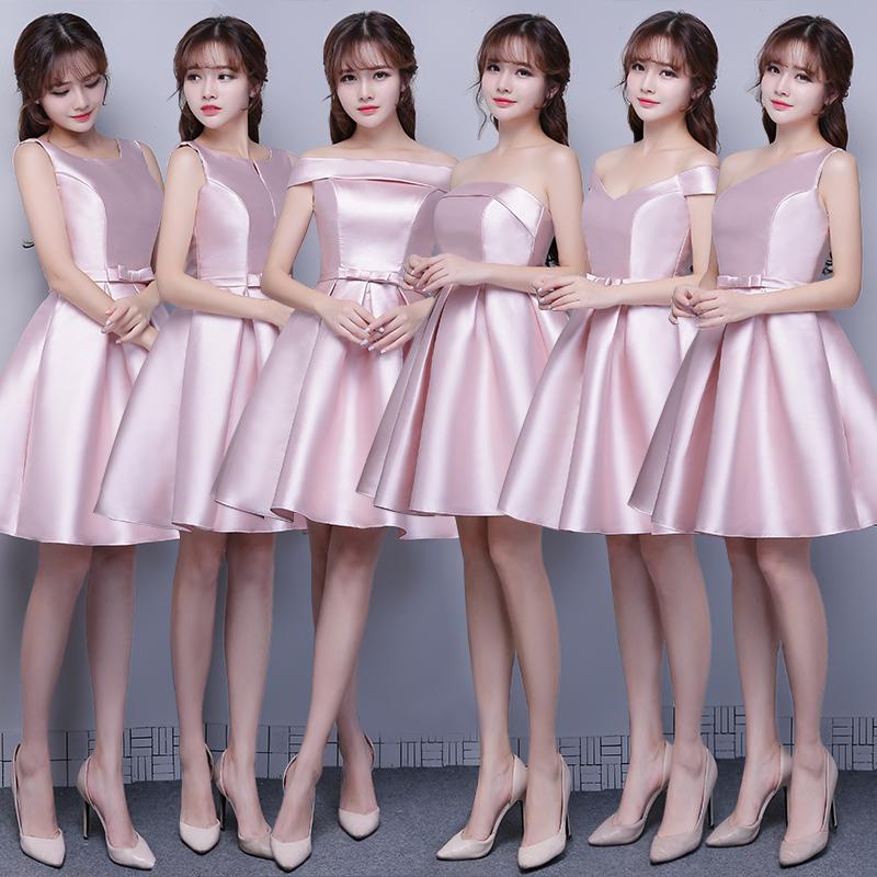 伴娘服短款2019新款秋季粉色缎面伴娘团礼服姐妹小礼服毕业晚礼服