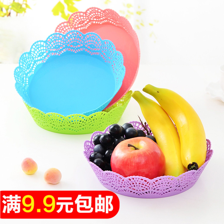 Table food grade PP European lace pattern fruit plate creative fashion dried fruit snack tray plastic storage tray