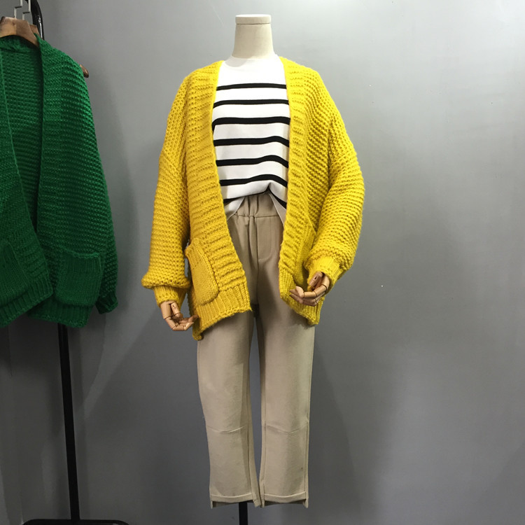 2017 South Korea new spring knitted coat bright color womens sweater loose medium length thick needle sweater cardigan
