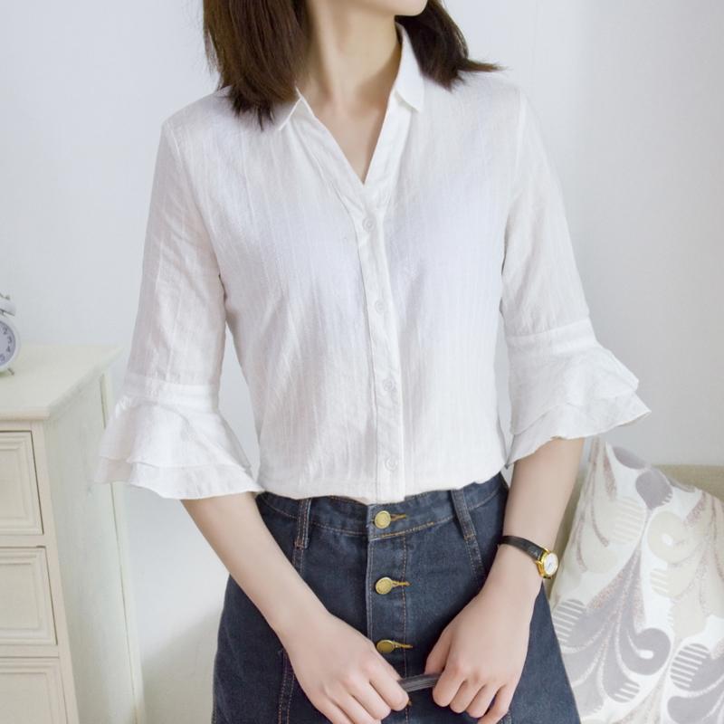 夏装新款喇叭袖白色衬衫女纯棉七分袖韩版宽松拼接小清新V领上衣