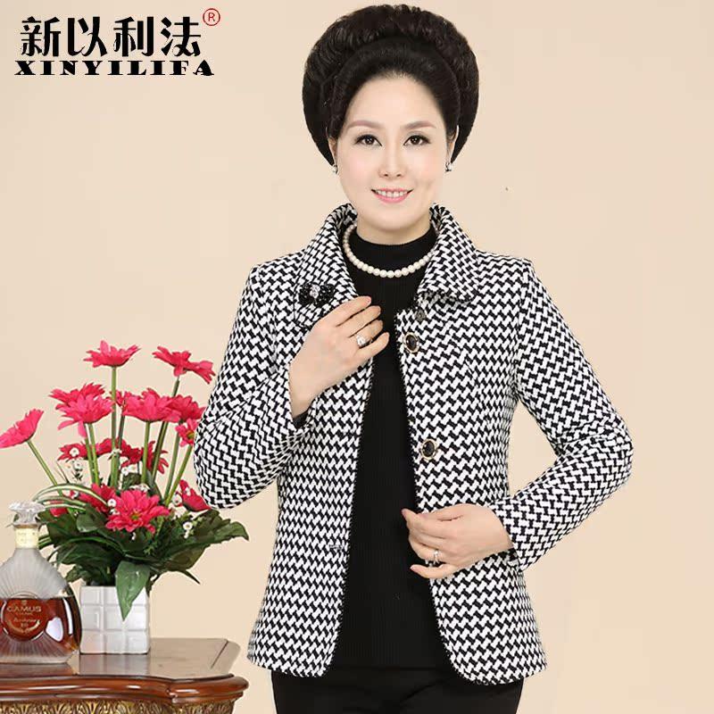 中老年女裝春秋裝長袖短款40~50歲媽媽裝毛呢外套中年修身短外套