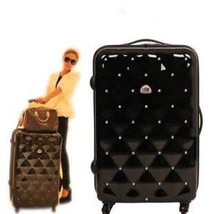 Japanese and Korean Fan beautiful diamond Wheels ABS trolley case suitcase board chassis suitcase student