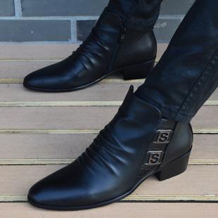 冬季馬丁靴男士高幫皮鞋韓版英倫尖頭皮靴真皮男靴短靴內增高軍靴