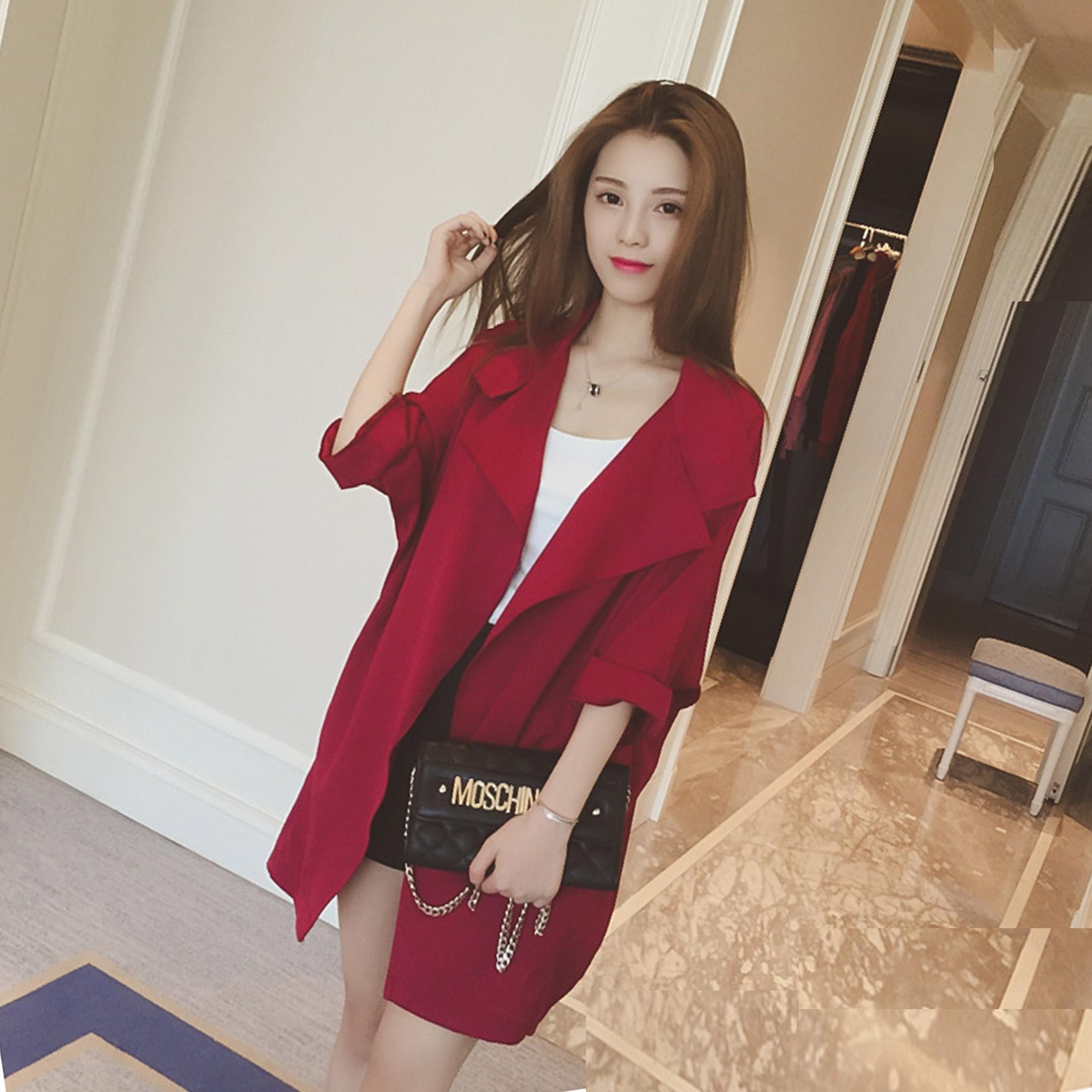 Осенью 2015 года женщин пальто в корейской версии плюс размер с длинным рукавом тонкий пальто сплошной цвет семи весны и осень досуг куртка Тайд
