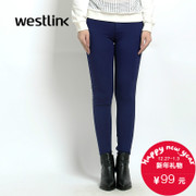 Westlink/West New 2015 winter simple solid-colored pencil pants slim leisure woman trousers