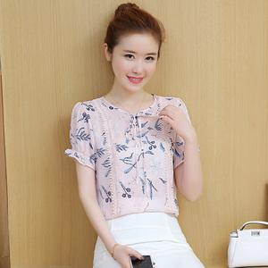 实拍韩版印花上衣甜美碎花雪纺衫短袖女蕾丝拼接小衫