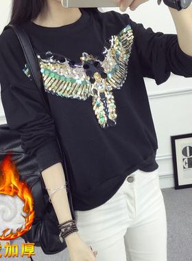 实拍1971#2017春季韩版时尚亮片纯棉长袖加绒卫衣女套头上衣学生