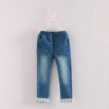 2015 autumn outfit lace girls children's clothes Autumn new baby children's trousers cultivate one's morality pants jeans kz - 3620