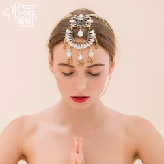 Meitai bride frontlet boho red Golden diamond of dancing water tassel headdress photo India A0832