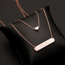 18 k rose gold titanium steel does not rub off Big European and American van round card South Korea necklace female double love