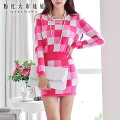 Fashion suit pink doll summer 2015 new set two sets of small fields breathe sweet sweater skirt set