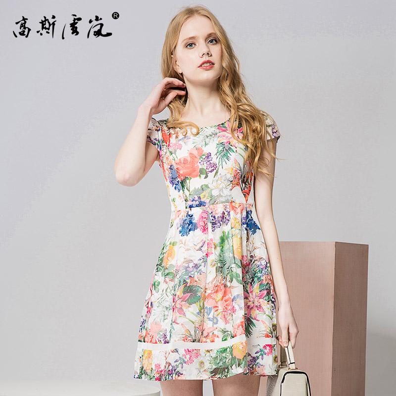 高斯雪岚女装  2018新款夏上衣春装 连衣裙中长款雪纺裙子