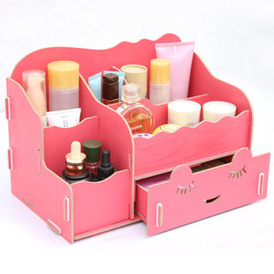 Blue plaid Korean version of the DIY Desktop wooden storage box cosmetic finishing the desktop box creative tuba