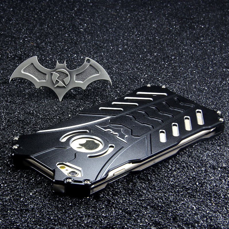 R-Just Batman Shockproof Aluminum Shell Metal Case with Custom Stent for Apple iPhone 6S/6 & iPhone 6S Plus/6 Plus