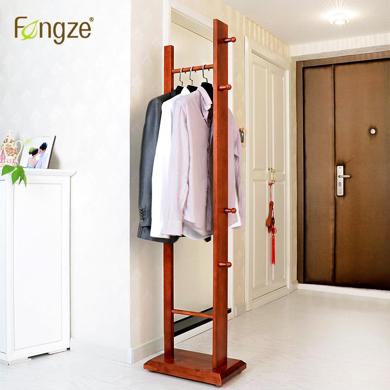 Fengze домой простой дерево вешалка этаж весить одежду полка.