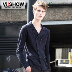 Viishow2015 new knitted coat in the spring tide of men's double breasted College wind blended knit sweater