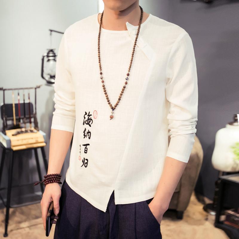 中式刺繡複古棉麻 t恤