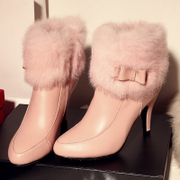 2015 winter season Martin boots, new Europe and rabbit fur boot short tube pointed stiletto high heel real leather women boots tide