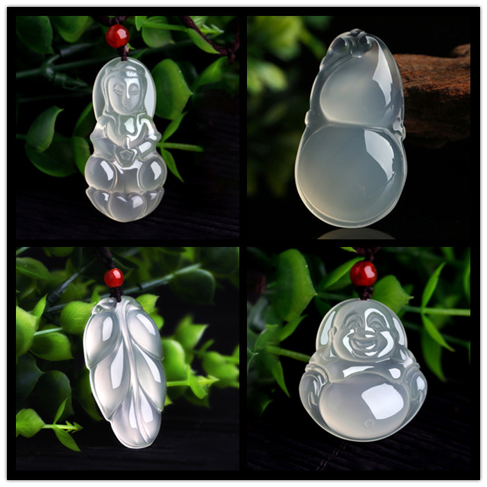 Natural a goods ice seed Hotan white jade pulp pendant pendant jade Guanyin Jade Buddha Pendant Necklace men and women with certificate