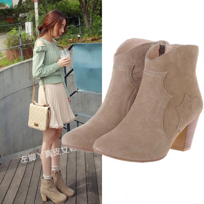 Spring and autumn hot pepper European and American Leather medium thick heel short boots high heel and ankle boots Martin boots bare boots single boot womens shoes