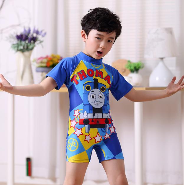 2016 兒童泳衣托馬斯寶寶卡通連體中大童泳裝平角男童平角泳褲