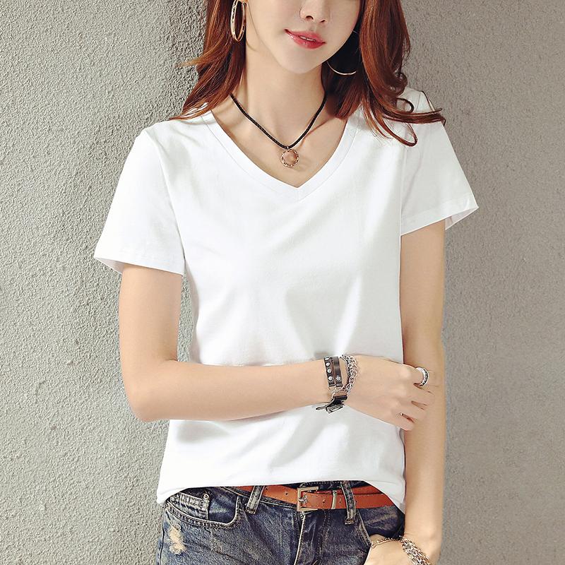 2018夏装新款纯白色V领短袖T恤女宽松大码韩范半袖小衫打底上衣服