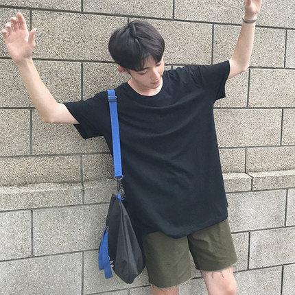 日系情侣夏季男士原宿纯色T恤休闲修身短袖衣服韩版半袖体恤潮流