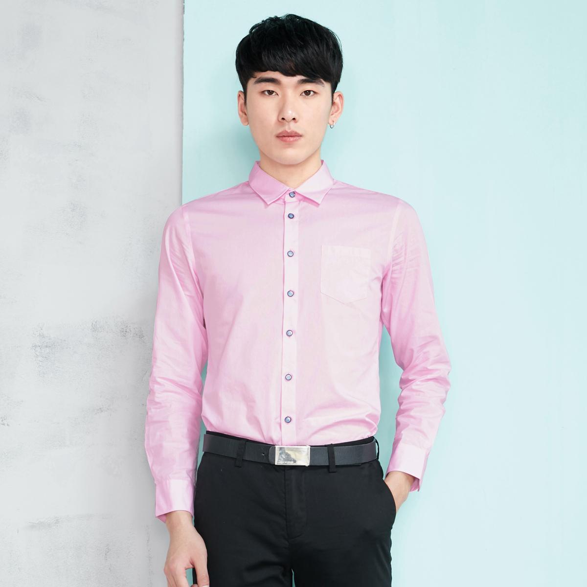 KONZEN商務簡約純色長袖純棉襯衫
