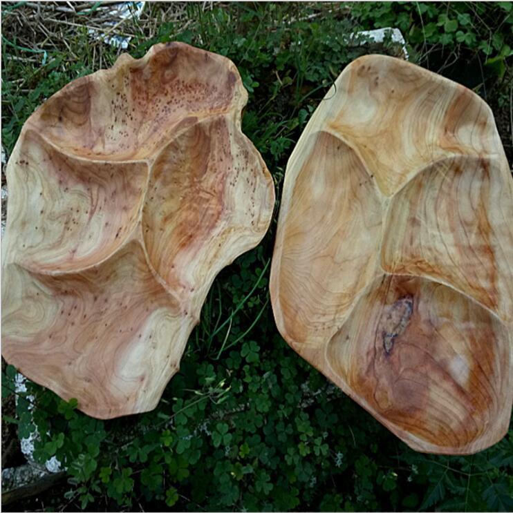 根雕实木分格水果糖果盘多格餐盘木制餐具干果小托盘茶盘杉木