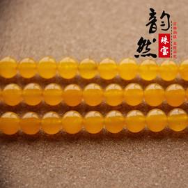 韵然珠宝 天然水晶黄玉髓半成品配珠 diy手链佛珠散珠配件图片