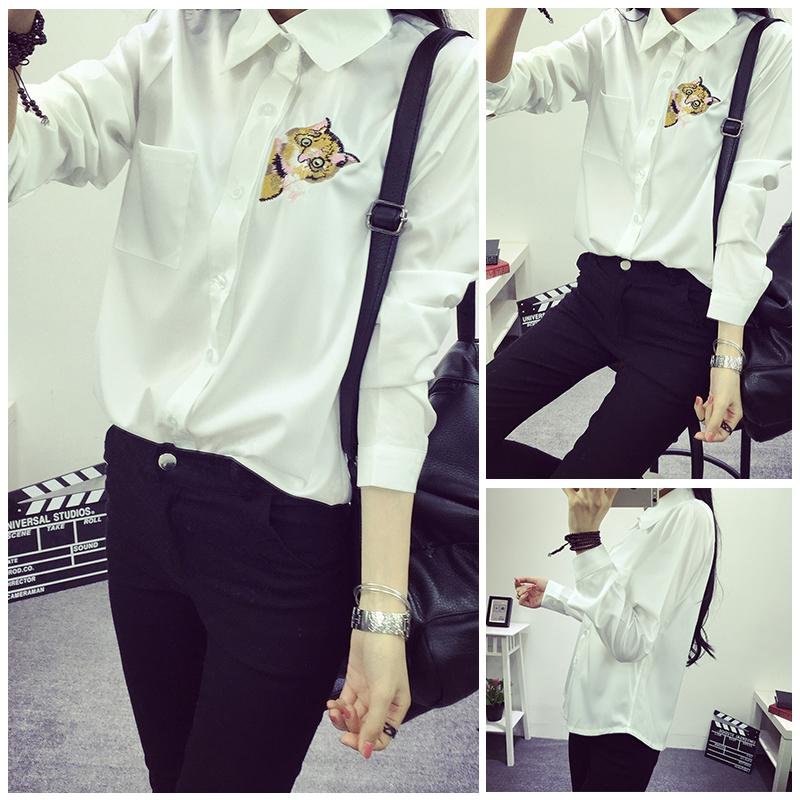 к 2015 году весной Новый корейский литературный Кот вышивка рубашка женщин леди с длинным рукавом дна рубашку темперамент Джокер рубашки